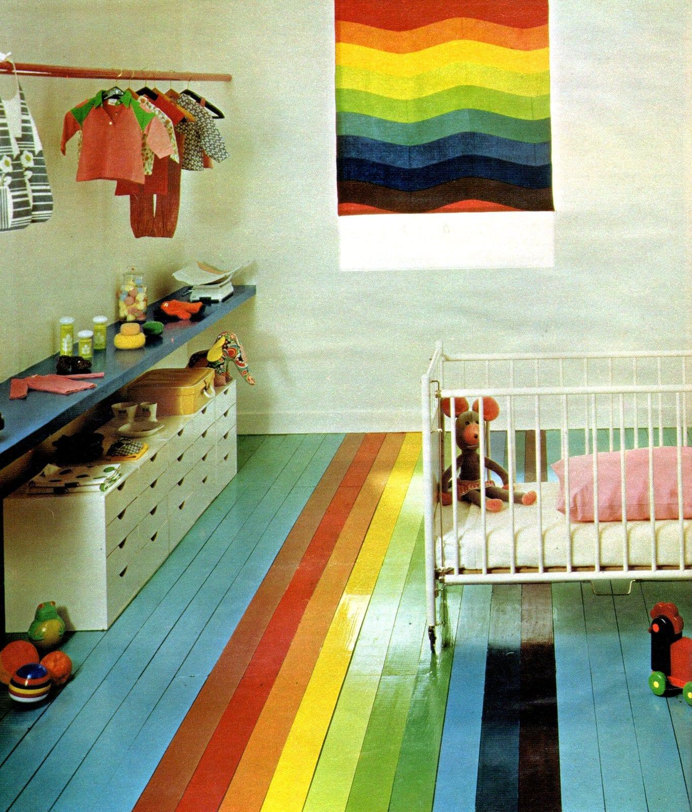 Crayon box rainbow floor and baby bedroom decor (1972)