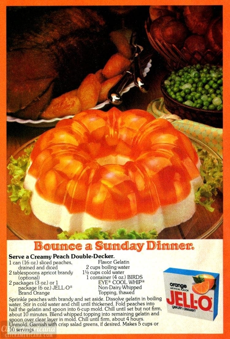 Creamy peach double-decker Jello salad (1979)