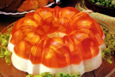 Creamy peach double-decker Jello salad