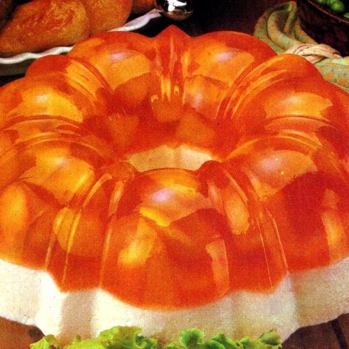 Creamy peach double-decker Jello salad