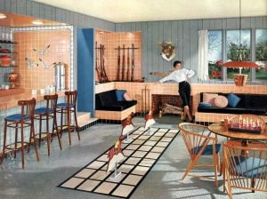 Creative 1950s kitchen and family room decor with salmon pink tile