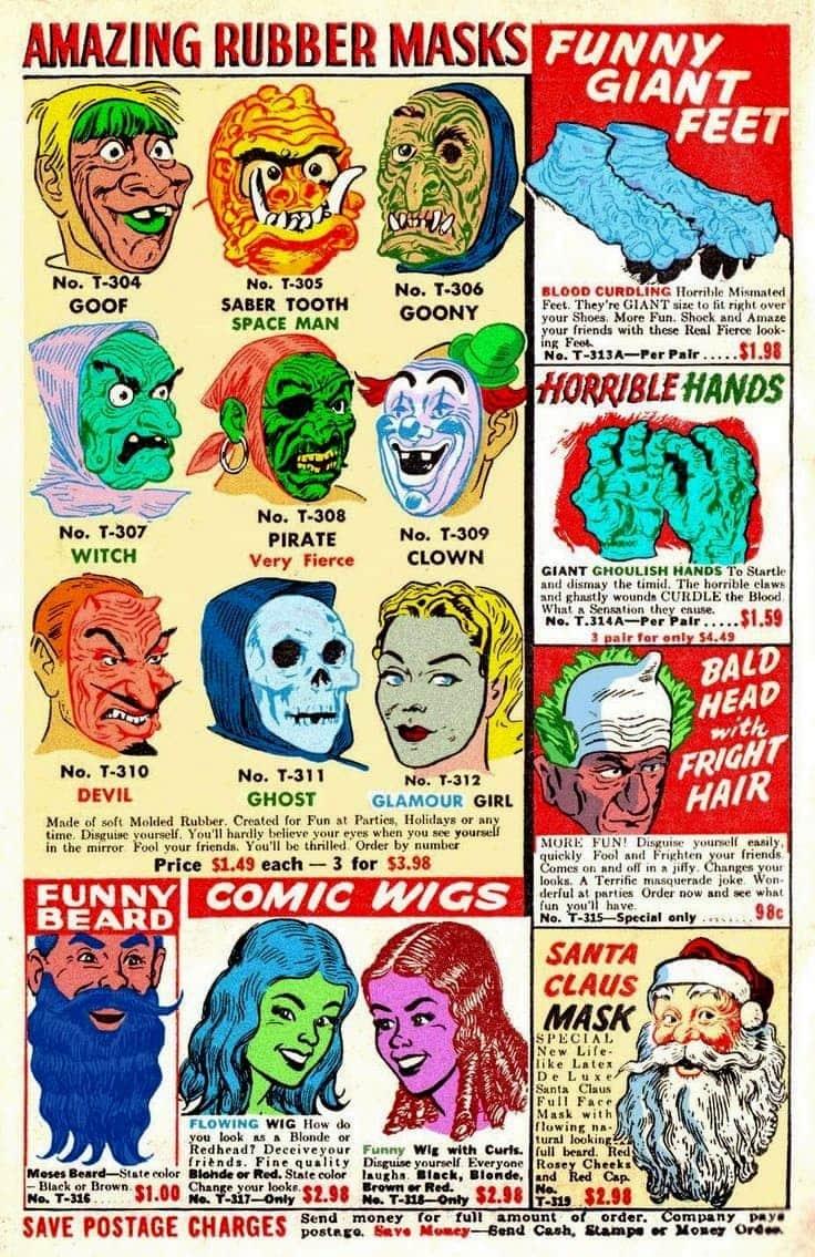 Creepy vintage rubber Halloween masks