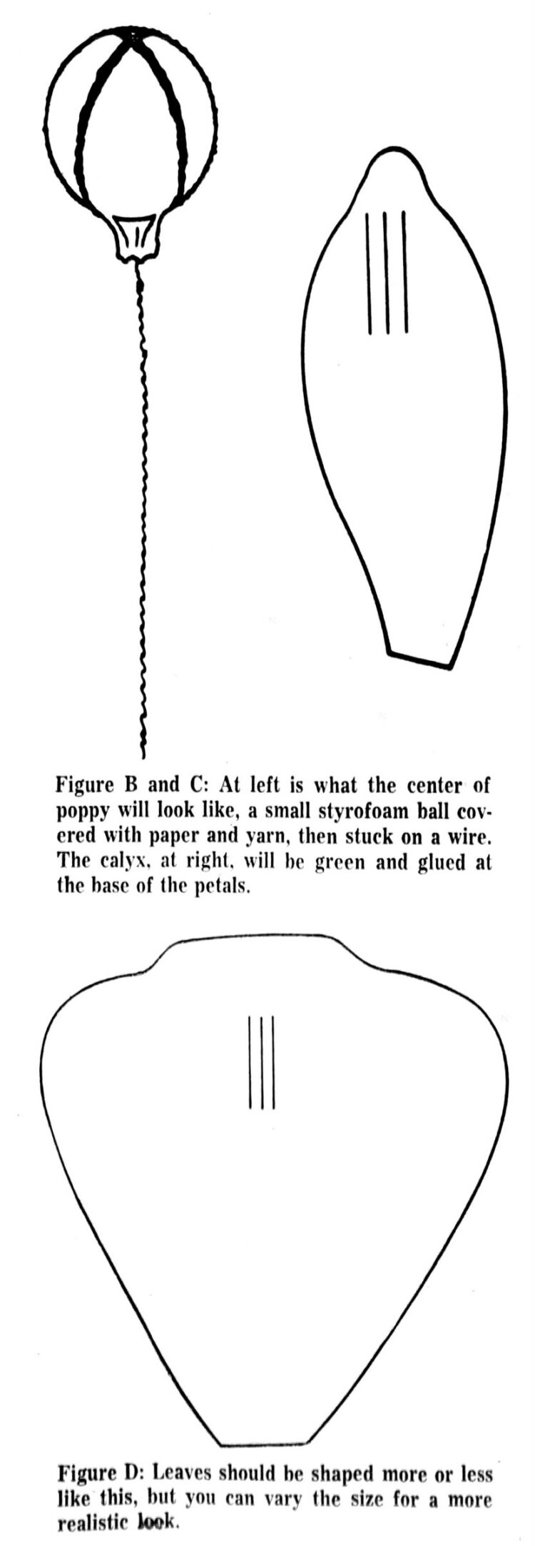 Crepe paper flower patterns - vintage craft how-to from 1974 (1)