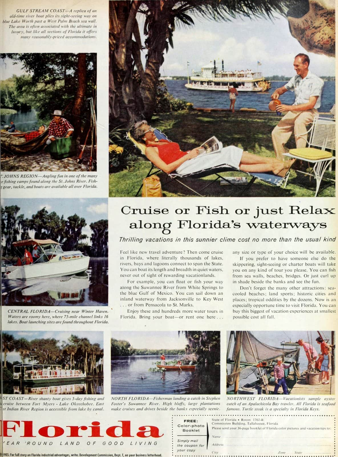 Cruise or fish or relax along vintage fifties Florida's waterways (1957)