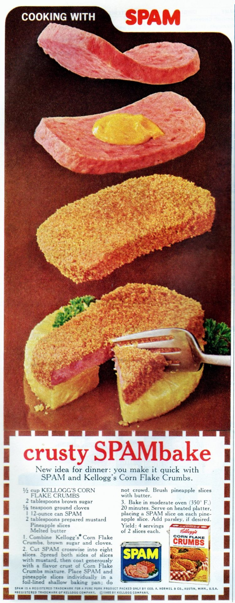 Crusty SPAMbake retro recipe from 1968 (2)