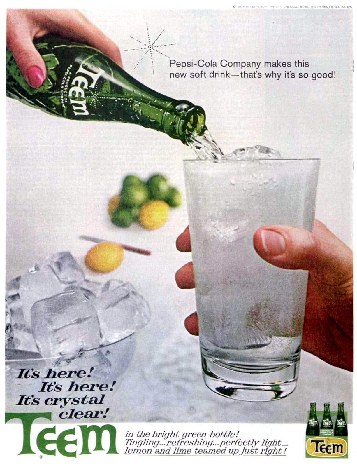Crystal clear Teem soda from the sixties (1962)