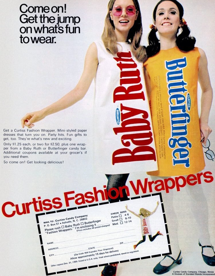Curtiss candy bar paper dresses - Baby Ruth and Butterfinger
