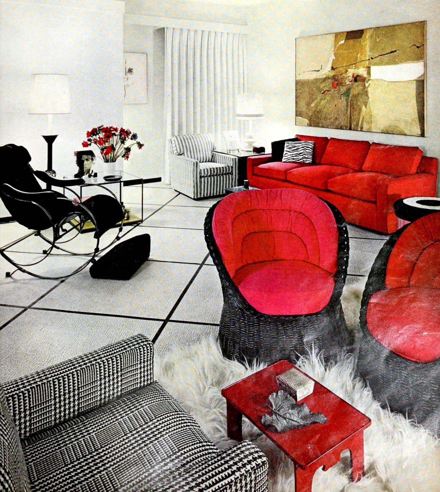 Curved black wicker chairs with red cushions - plus a sleek curvy rocking chair (1968)