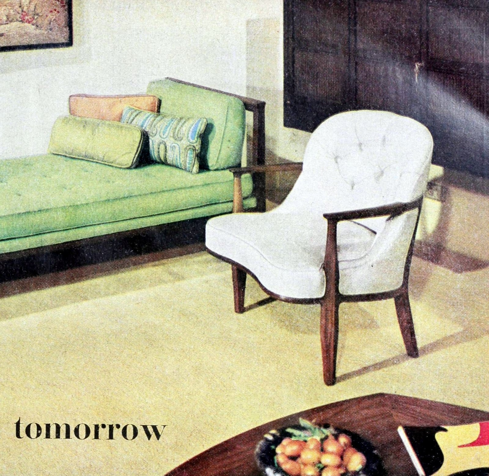 Curved white living room chair style with wood frame (1960)