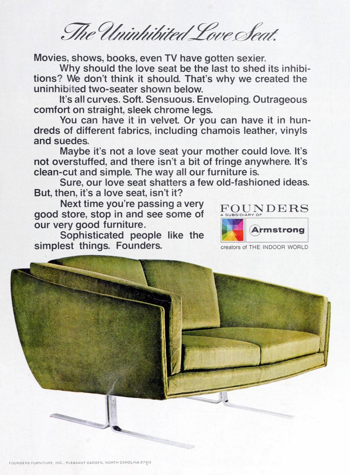 Curvy mod sixties green velvet love seat on thin metal legs (1969)