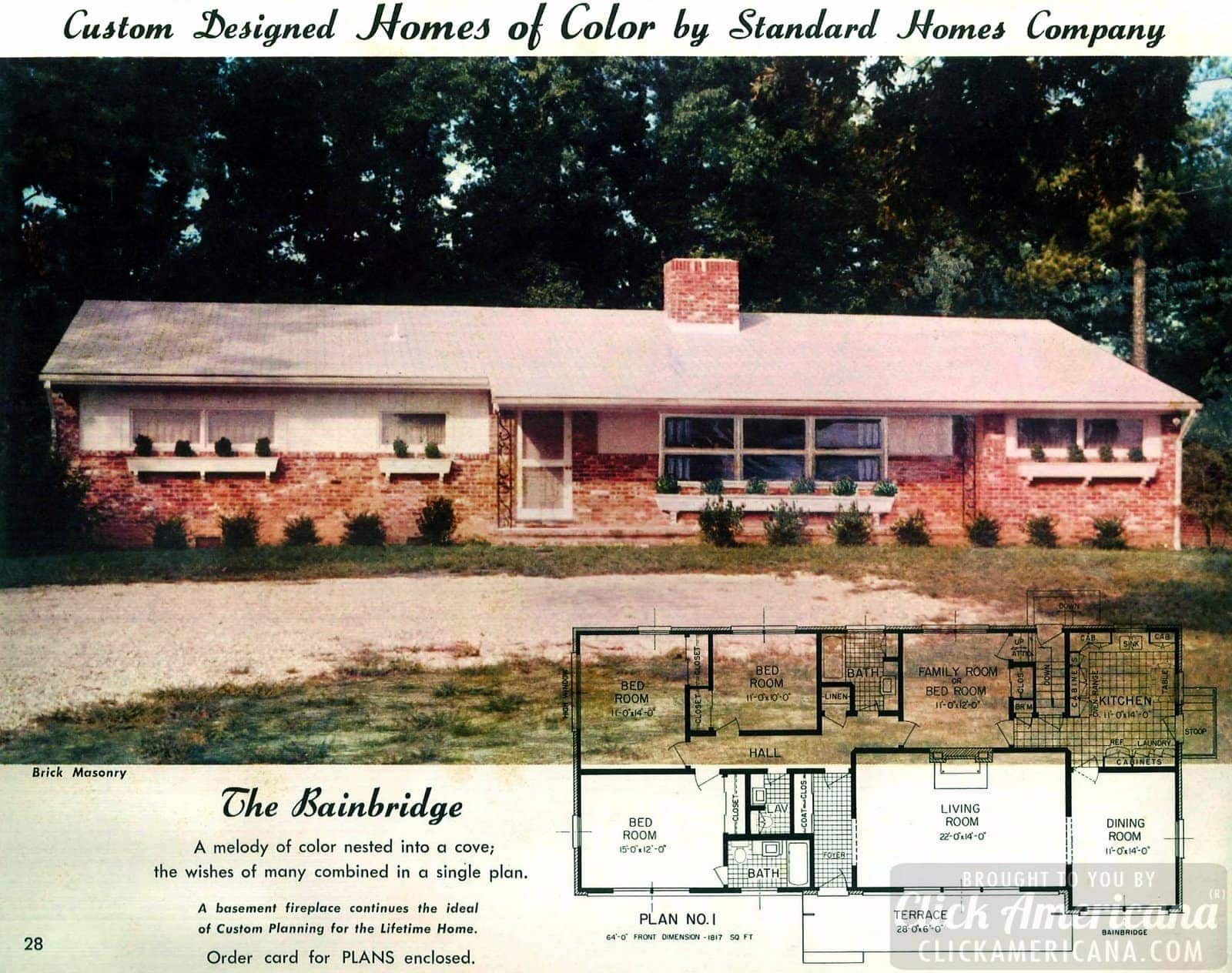 The Bainbridge: Mid-century house design plans from the '50s