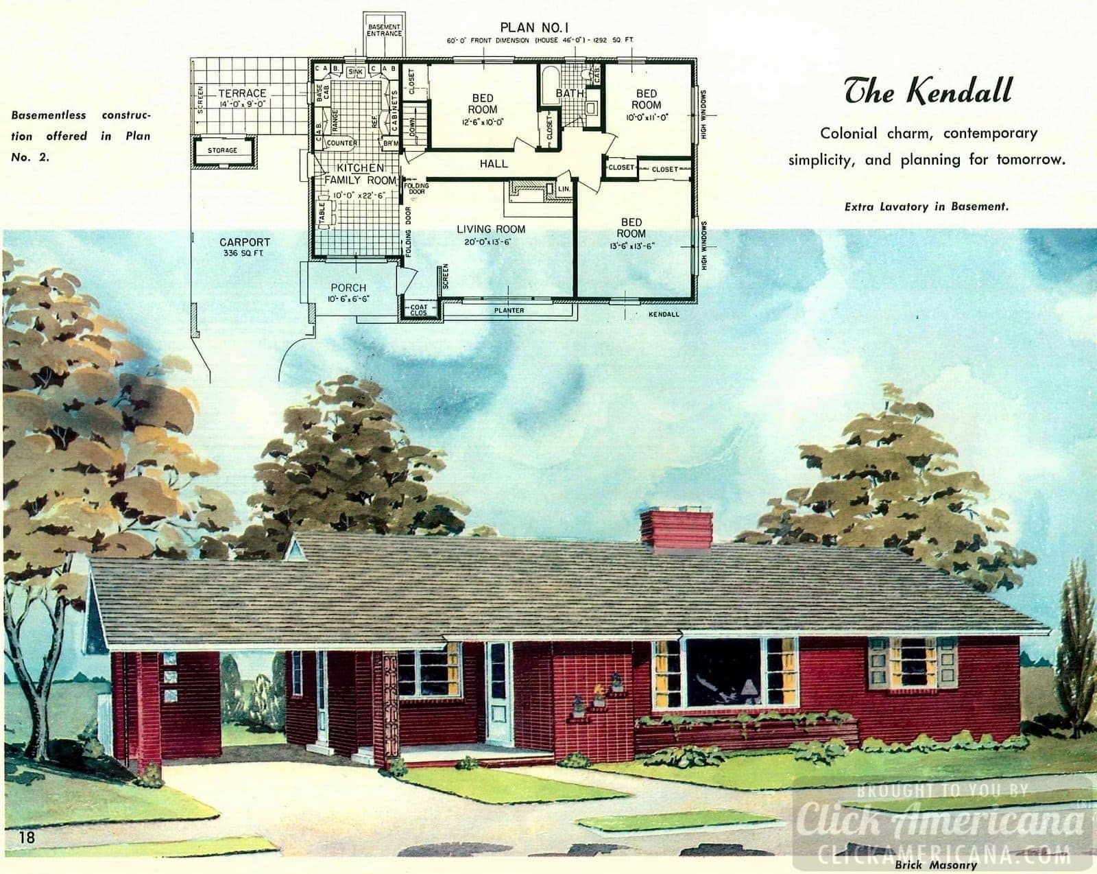 The Kendall: Home design plan from 1958