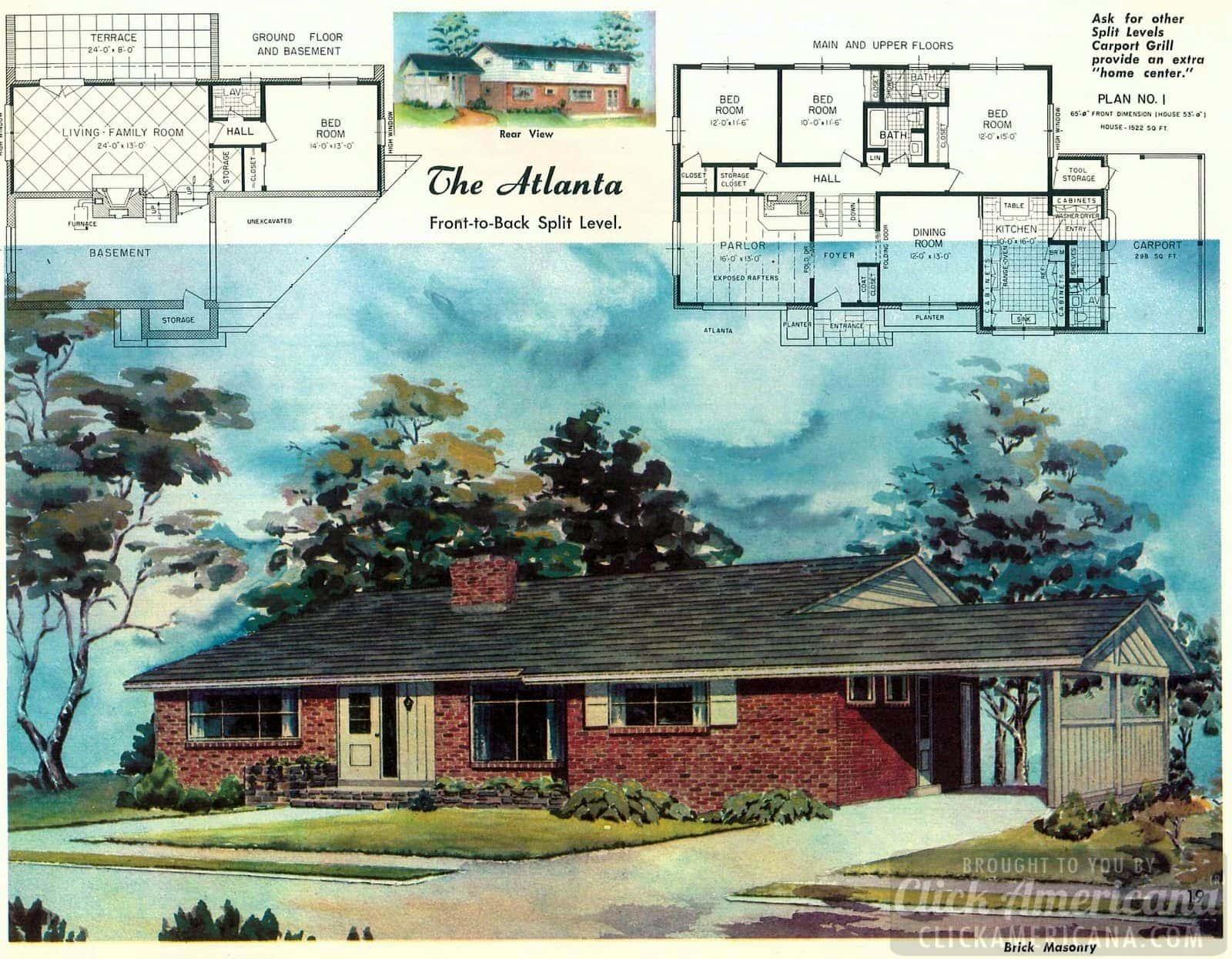 The Atlanta split-level: Home plans from 1958