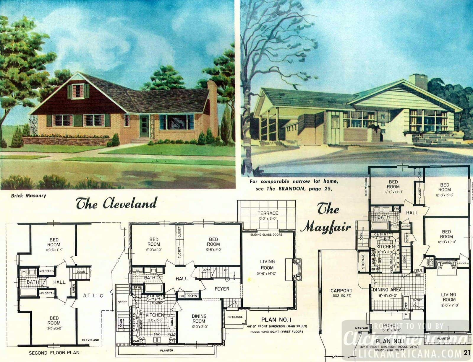 Home design plans from 1958: The Cleveland & Mayfair