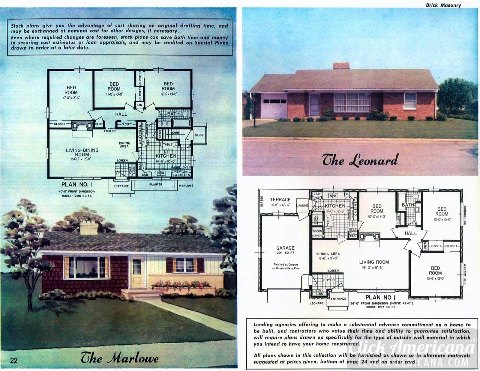 Home design plans from 1958: The Marlowe & The Leonard