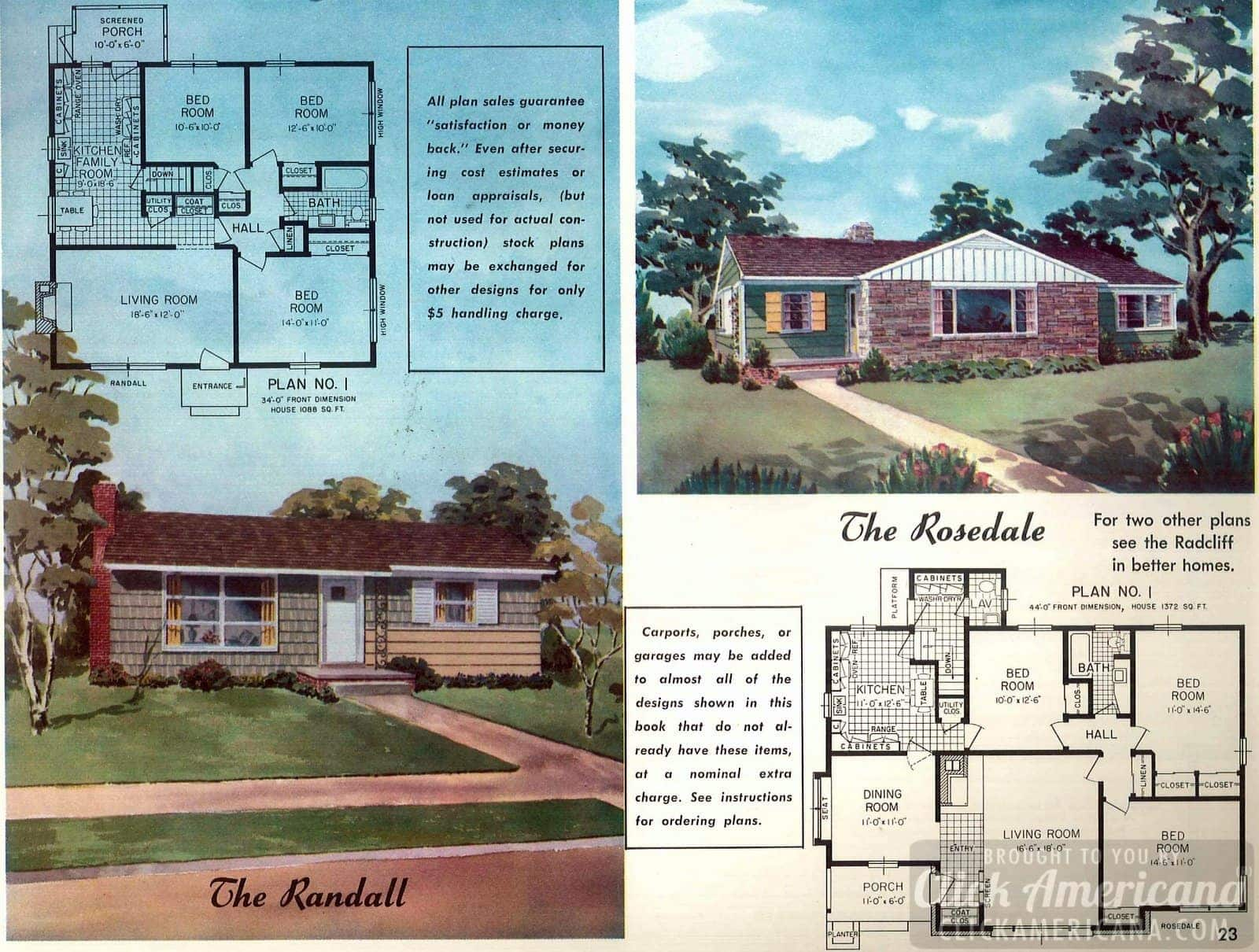 The Randall & The Rosedale: Home plans from 1958