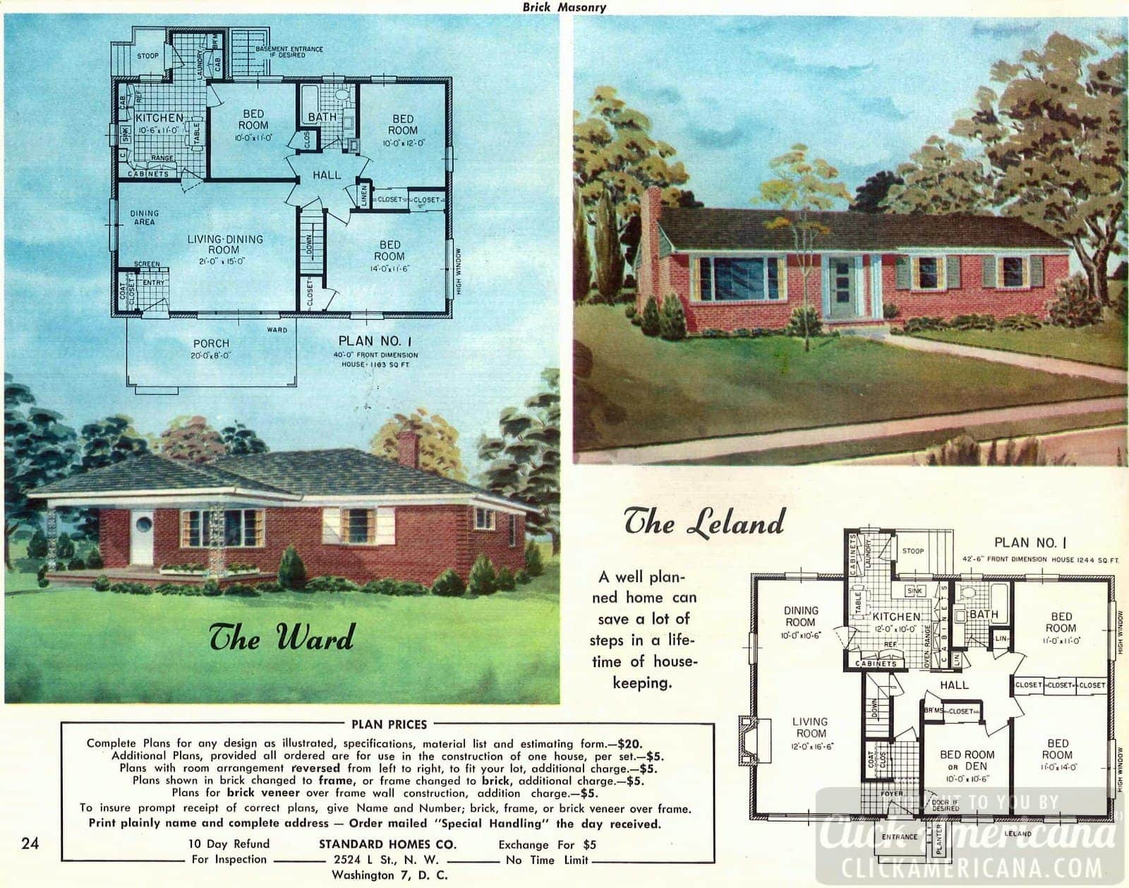 The Leland & The Ward: Home designs from 1958