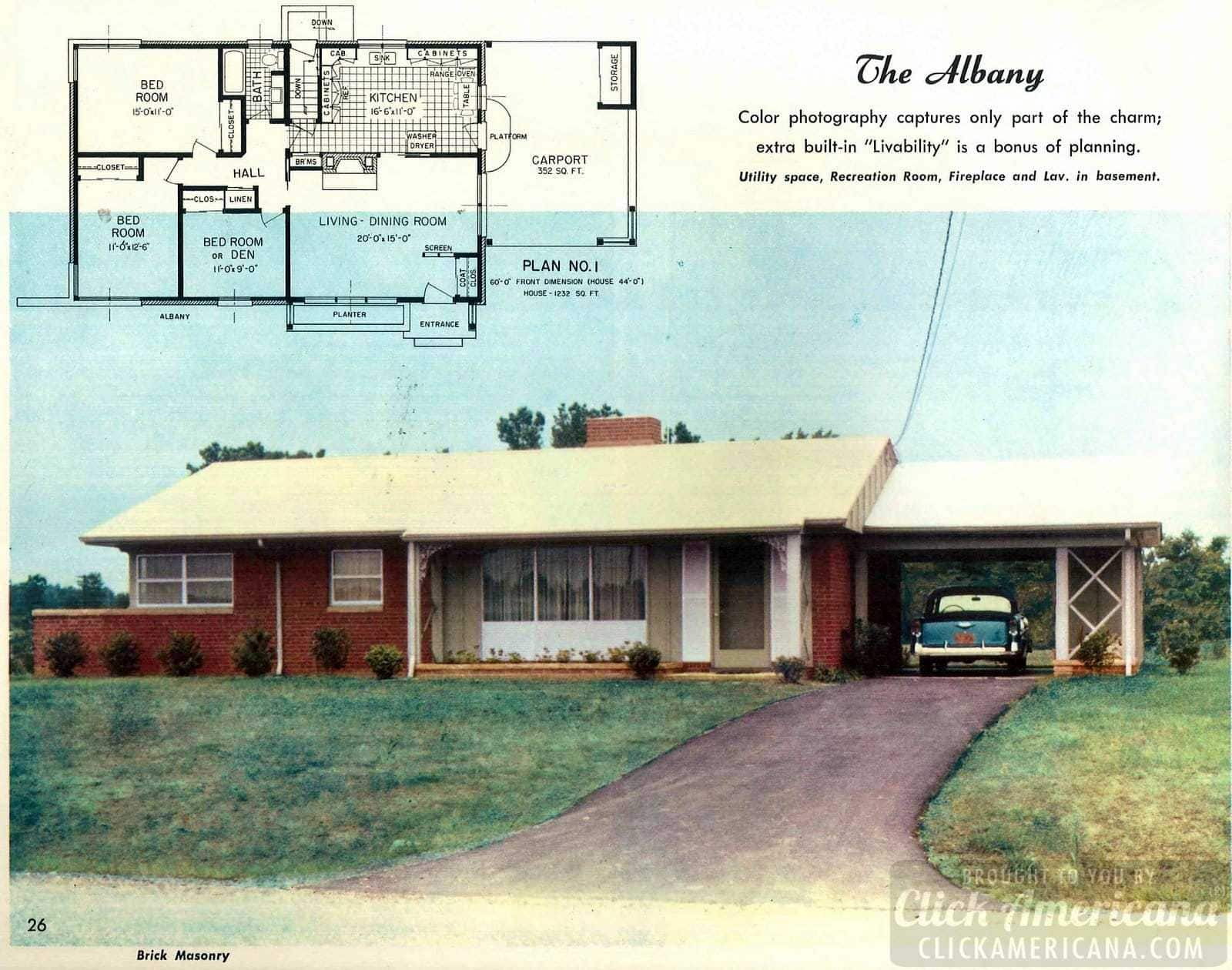 The Albany: Home design plans from 1958