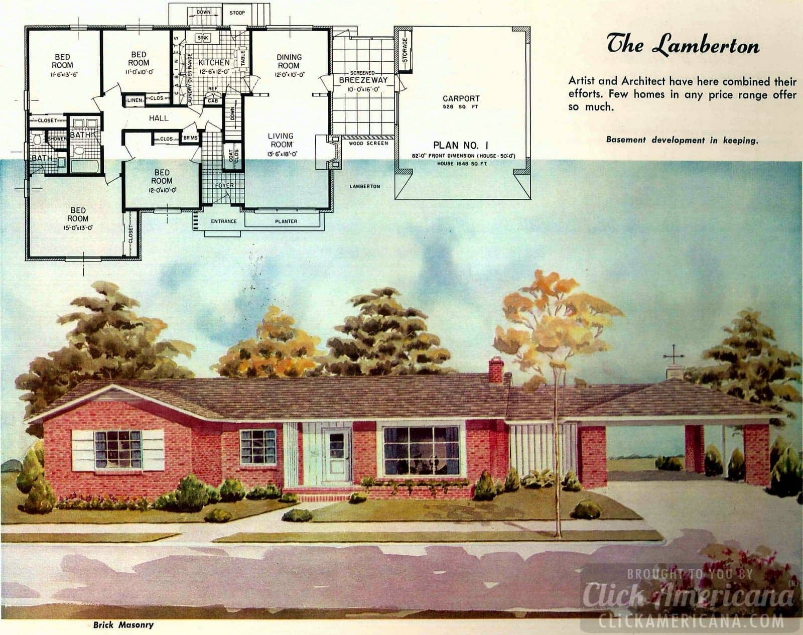 The Lamberton: House design plans from the '50s