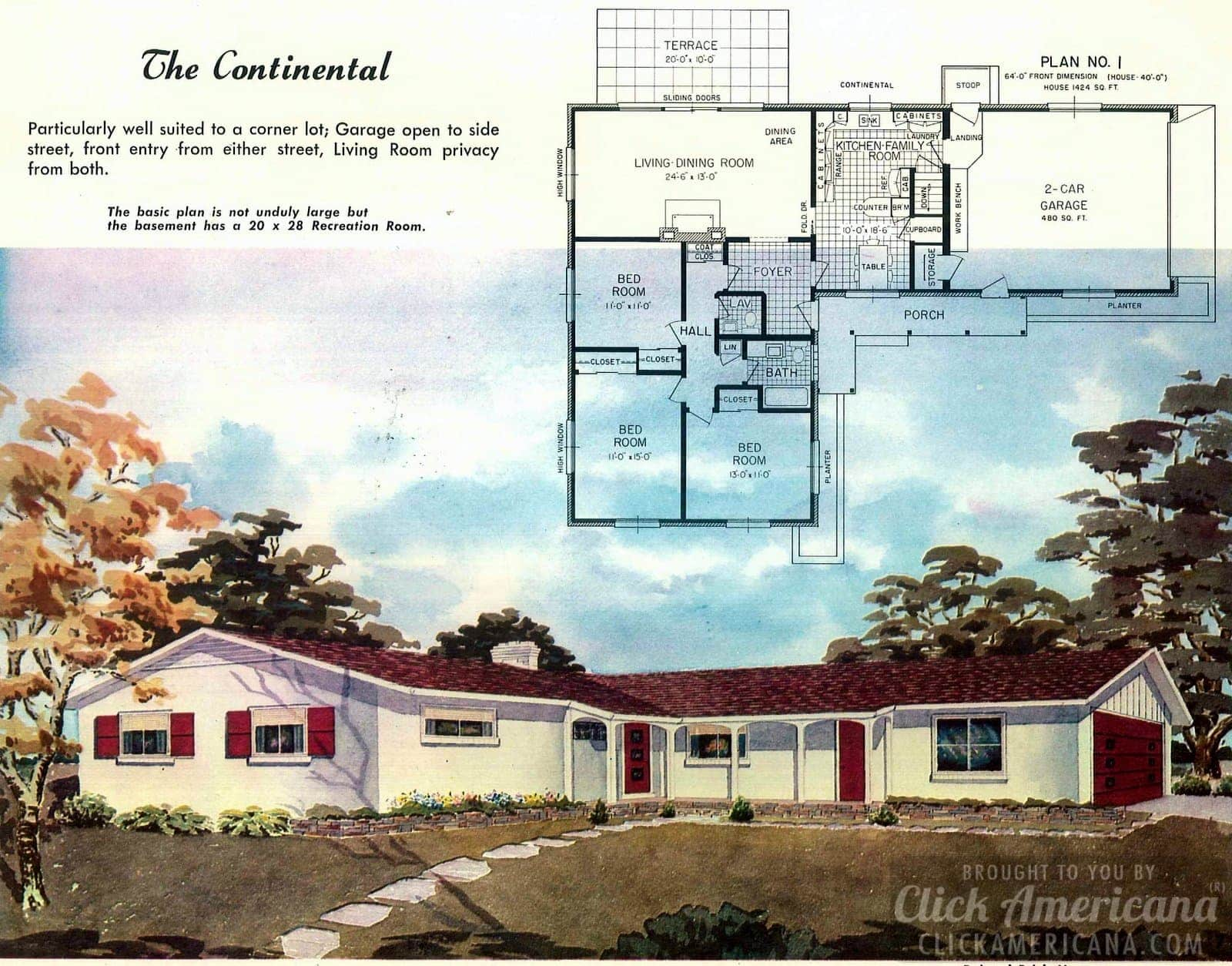 The Continental: House design plans from the '50s