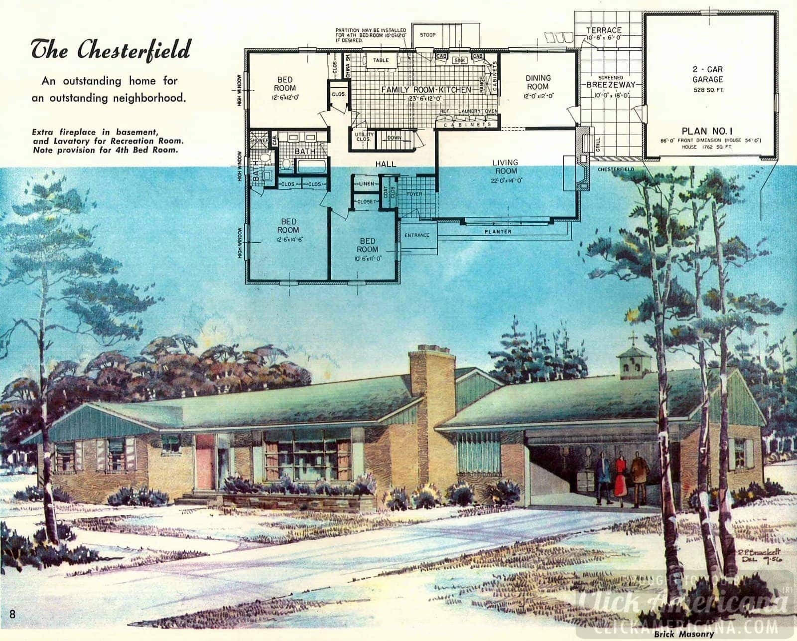 The Chesterfield: House design plans from the '50s