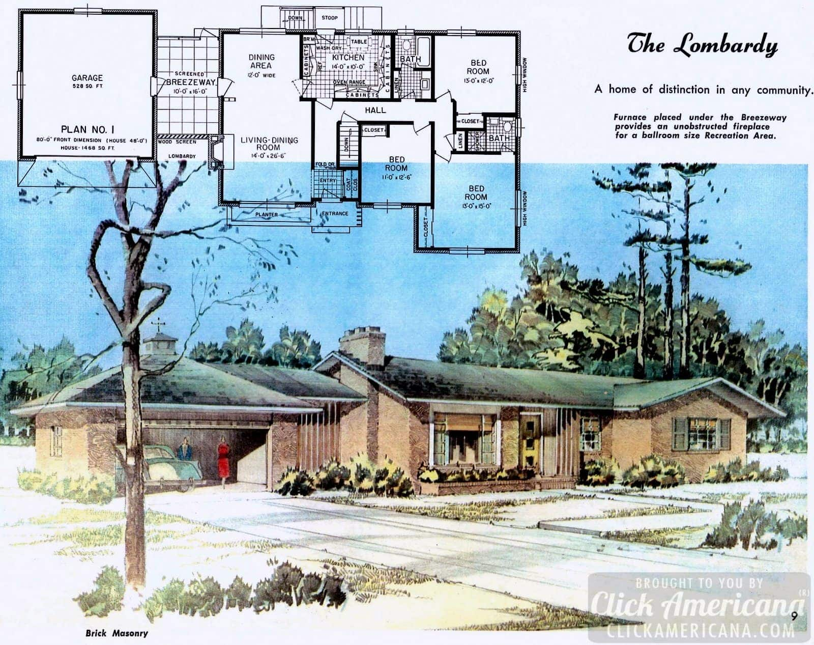 The Lombardy: House design plans from the '50s