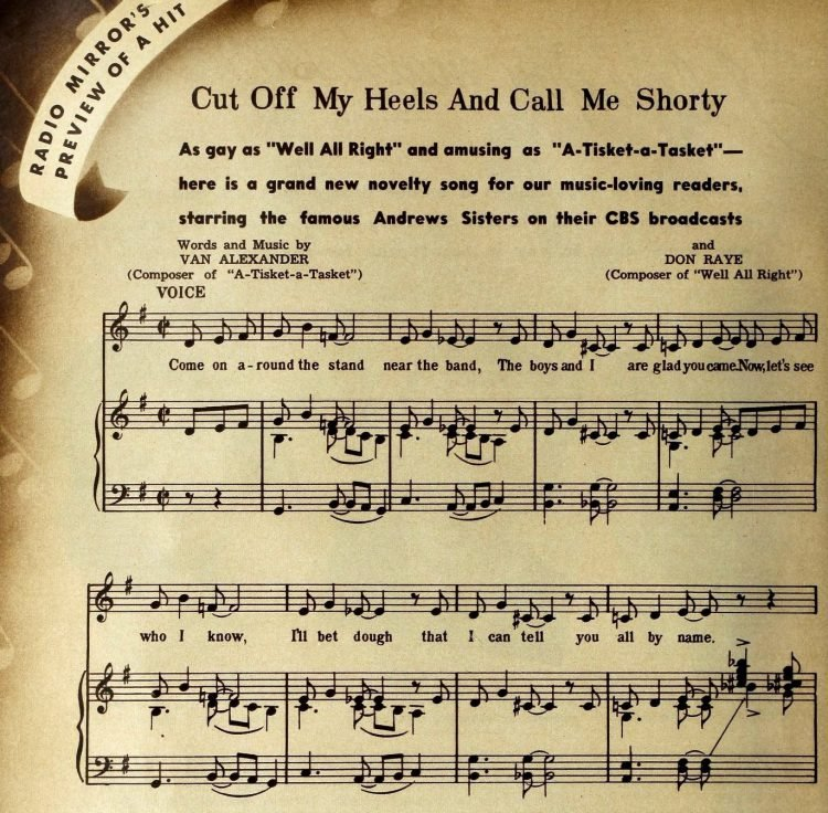 Cut Off My Heels And Call Me Shorty - Sheet music