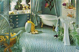 Cute blue and white retro bathroom decor from 1978