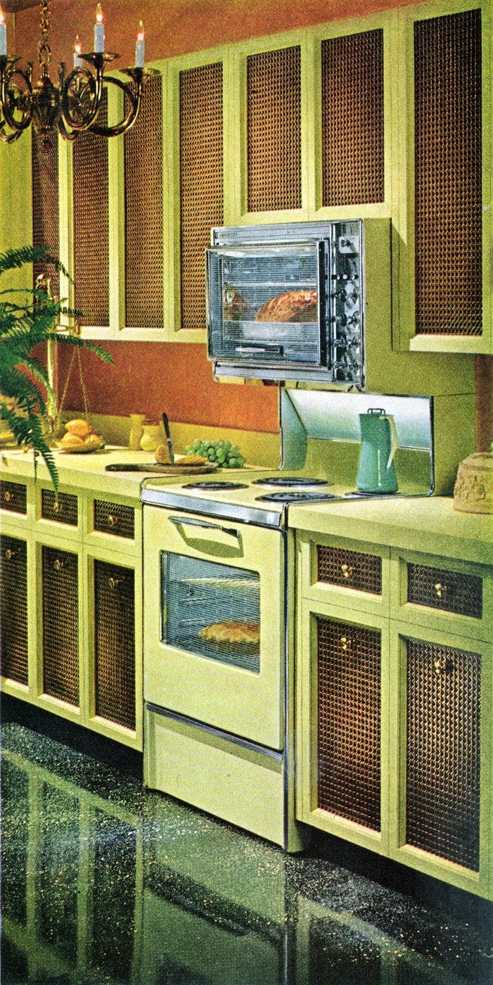 Cute cheap kitchen cabinet facelift ideas from the 1960s