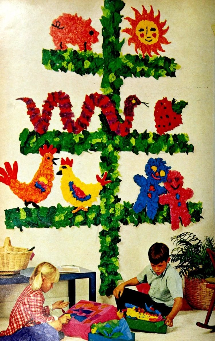 Cute crafty kids Christmas tree 1969