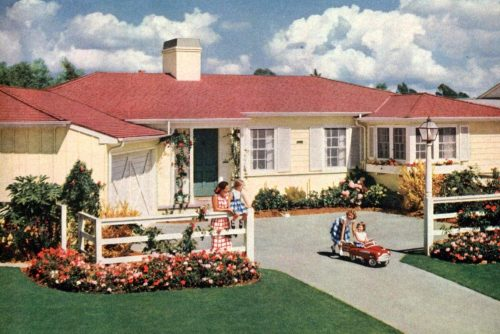 Cute house from the 1950s with kids playing in front