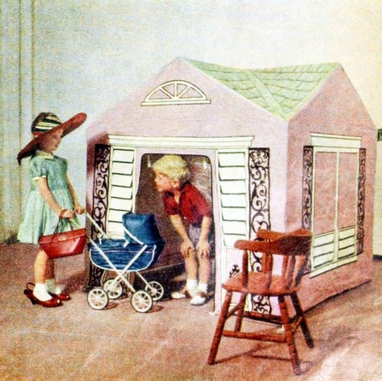 Cute pink playhouse for kids from the 1950s