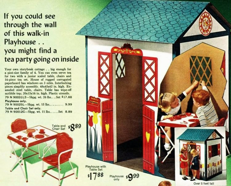 Cute playhouse for kids in 1968 Sears Wish Book Christmas catalog