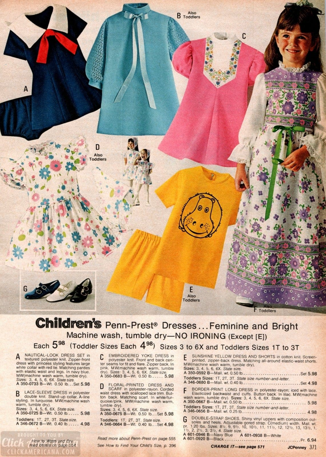 Cute retro dresses for little girls - nautical and lace plus floral prints and patterns - from 1973