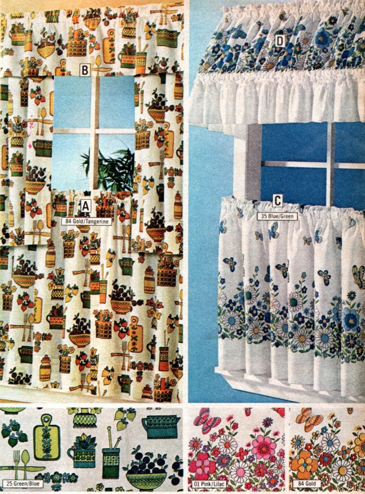 Cute retro kitchen and cafe curtains with canopies