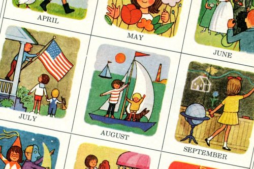 Cute retro month-by-month calendar icons from the '60s