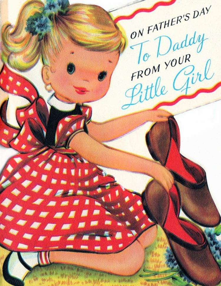 Cute vintage Father's Day cards - Daddy from little girl