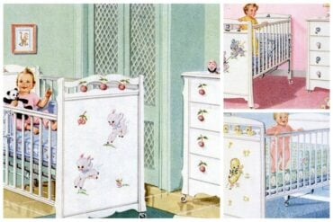 Cute vintage baby nursery furniture & decor from the fifties (1955-1957)