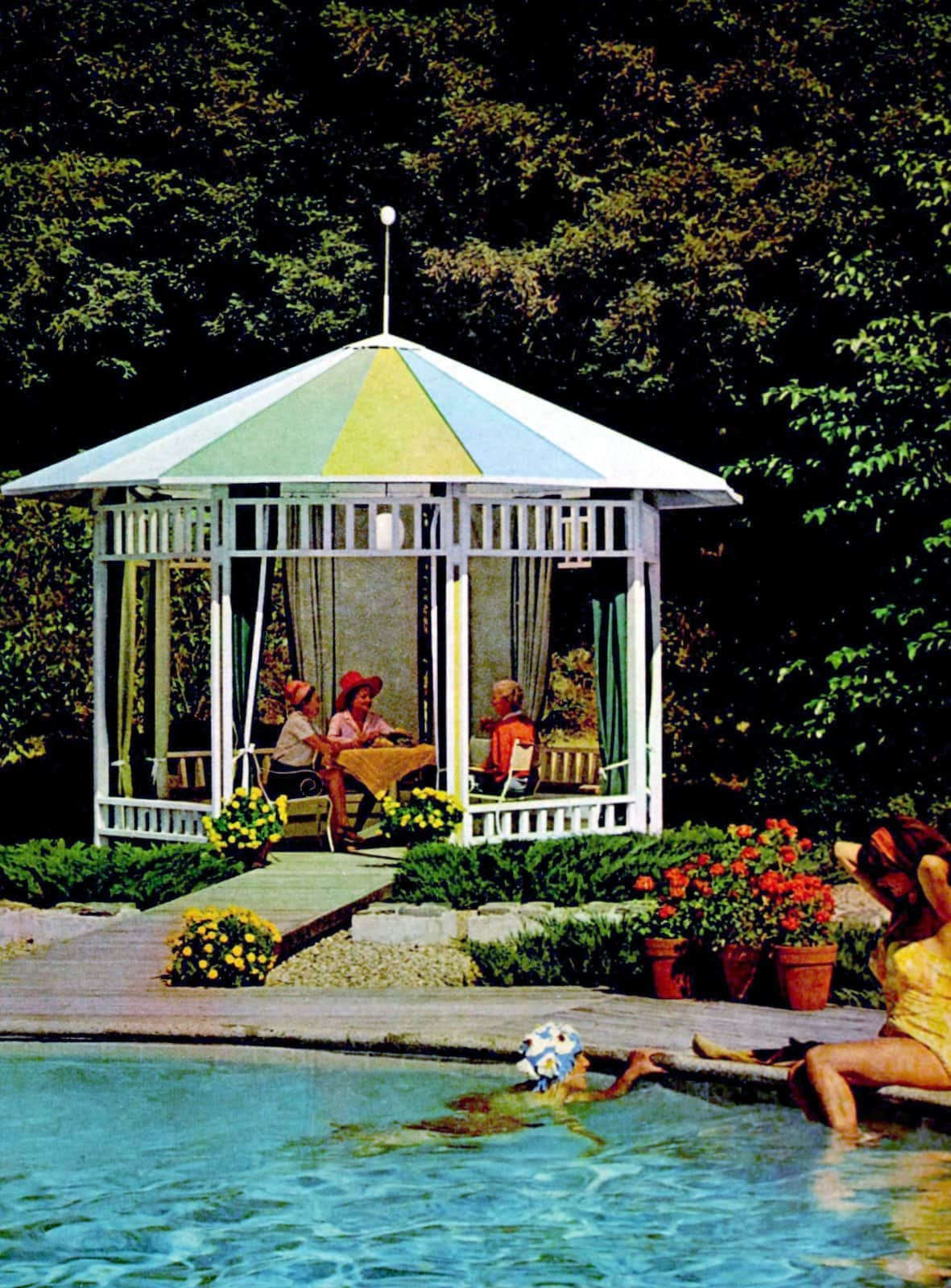 Cute white backyard pavilion by the pool from 1967