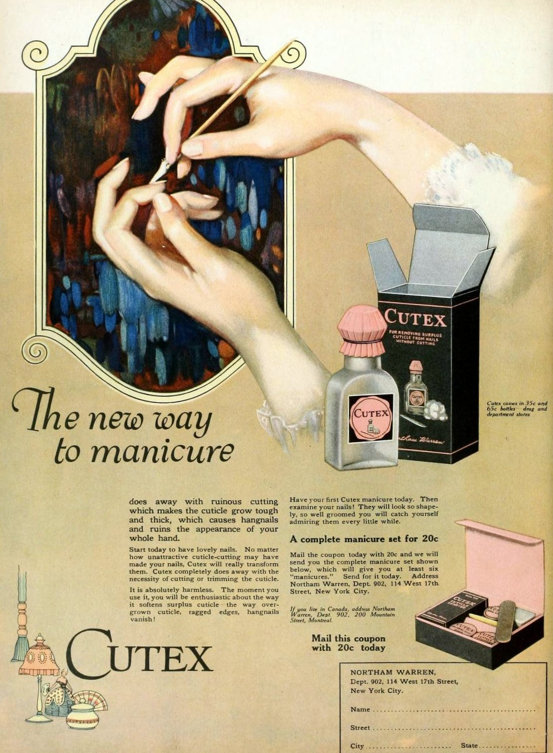 Cutex manicure kits from 1920