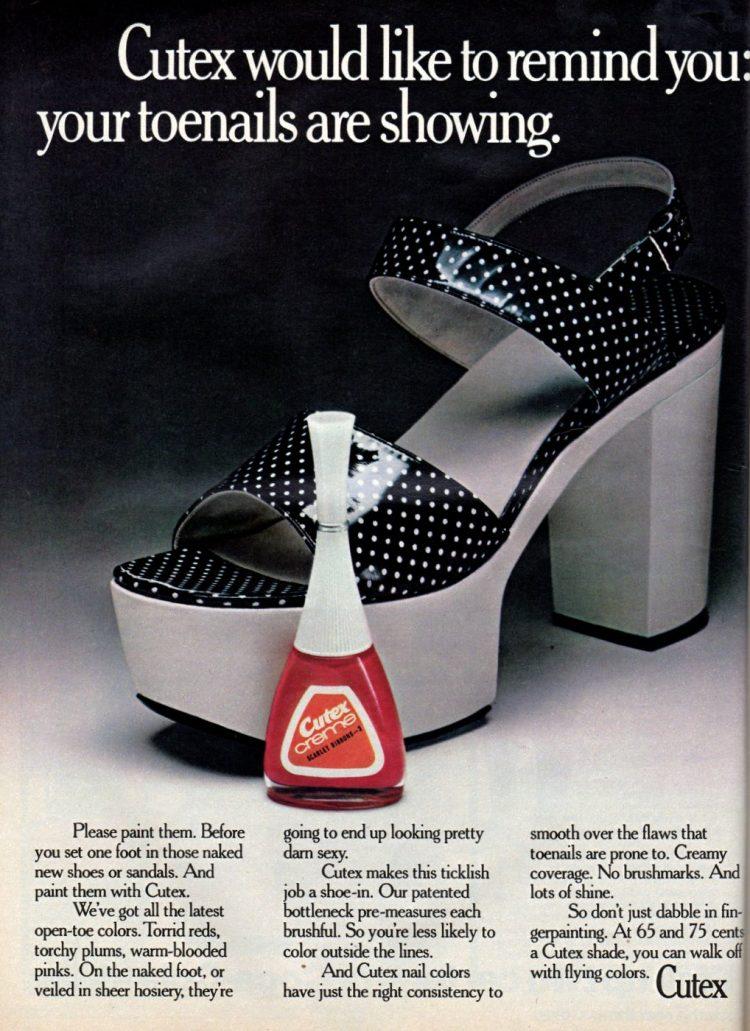 Cutex toenail polish creme from 1973 - Platform shoes