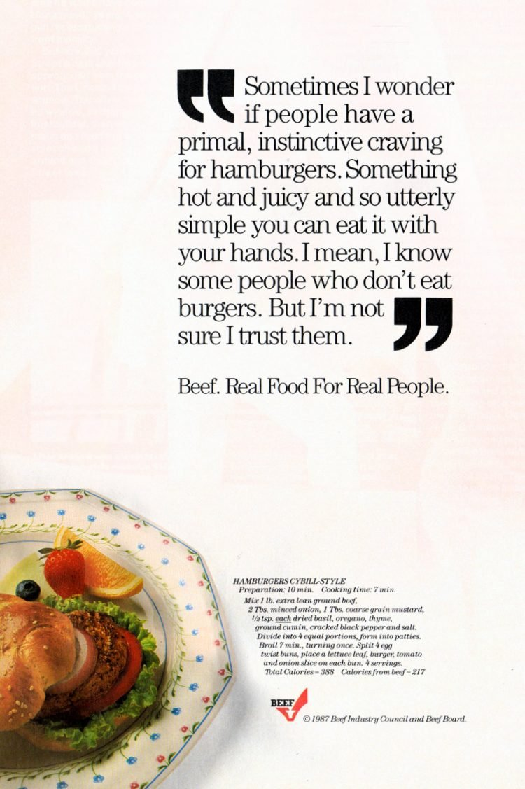Cybill Shepherd hamburger recipe -1987