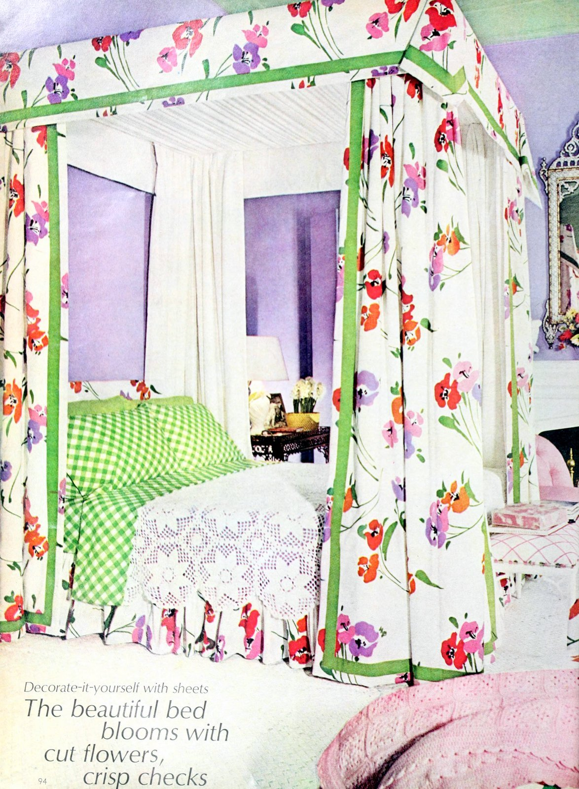 DIY canopy for a bed made with flowery sheets (1973)