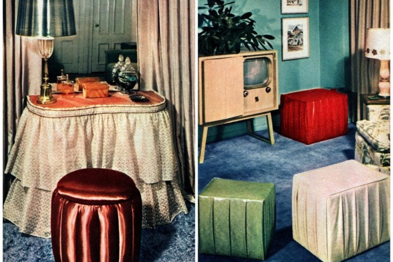 DIY furniture from the fifties How to make double-duty hassocks for storage and seating all in one (1950)
