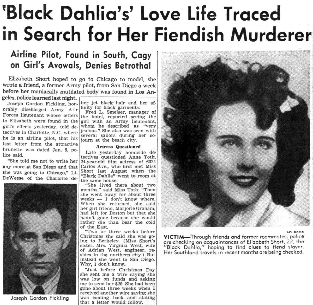 Dahlia love life traced news story - January 1947