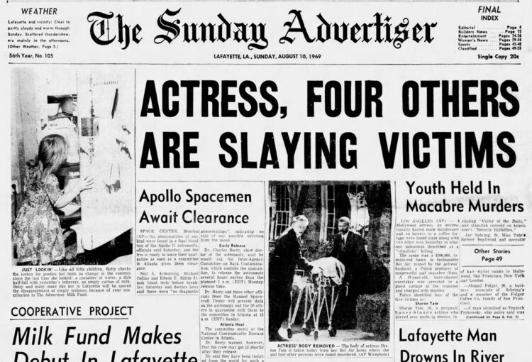 Daily Advertiser - Lafayette Louisiana - Manson-Tate murder headlines - Aug 10 1969