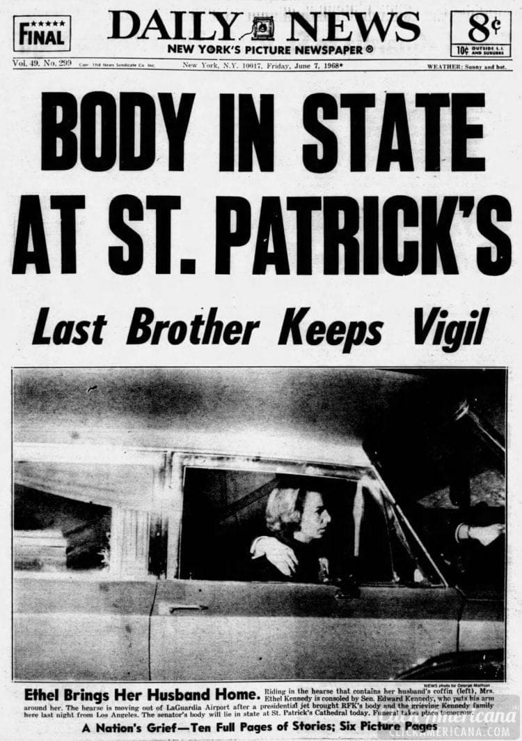 Daily_News - Bobby Kennedy's body in NY - June 7 1968