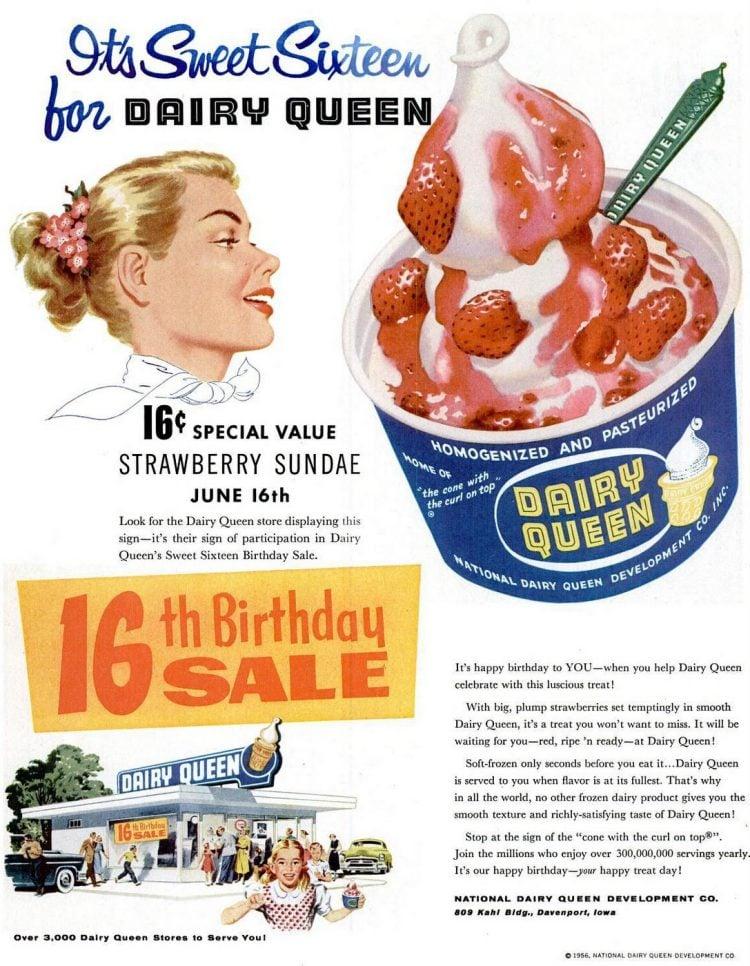 Dairy Queen strawberry sundae 1956