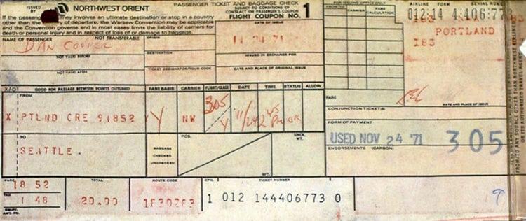 Dan Cooper plane ticket 1971