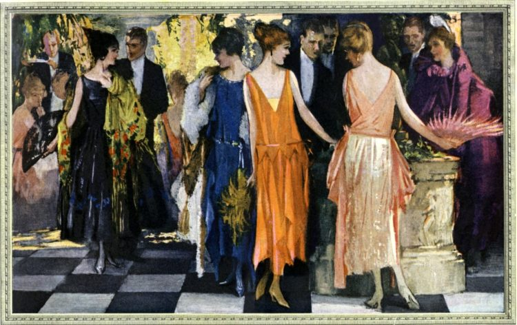Dance with couples and fancy dresses in the 20s - 1922